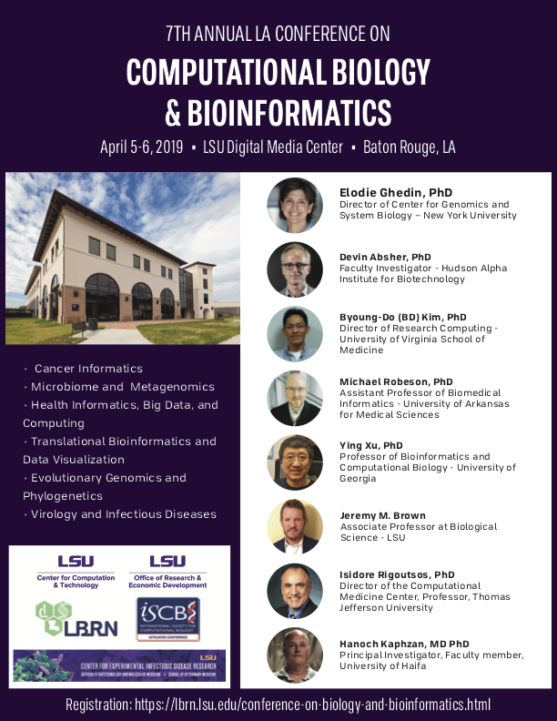 2019 7th Annual Louisiana Conference on Computational Biology and Bioinformatics Flier (2019-02-26)