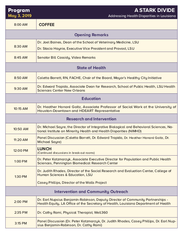 The Health Disparities Final Conference Program, updated April 30, 2019