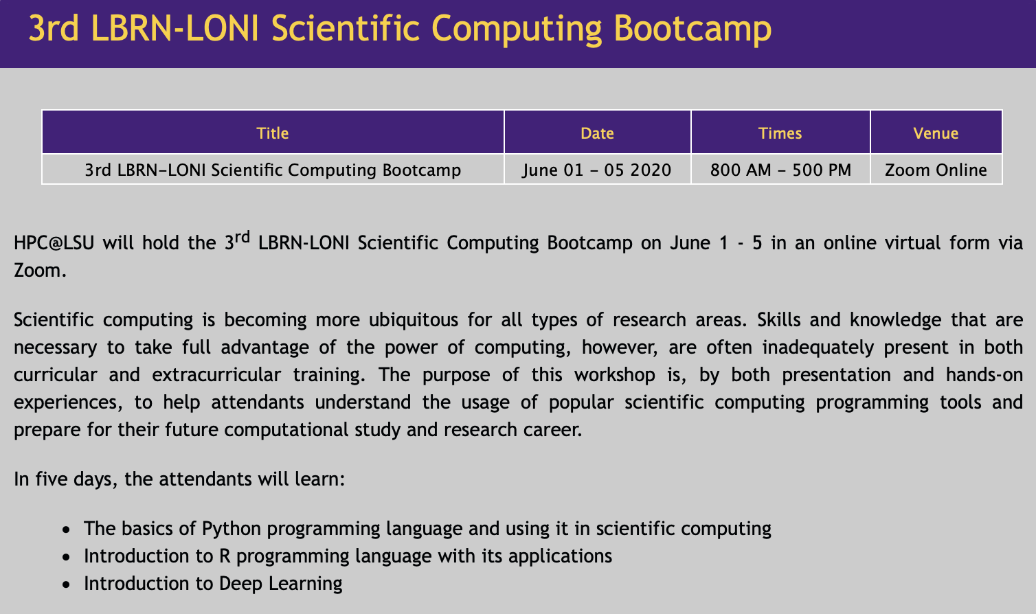 3rd LBRN-LONI Scientific Computing Bootcamp
