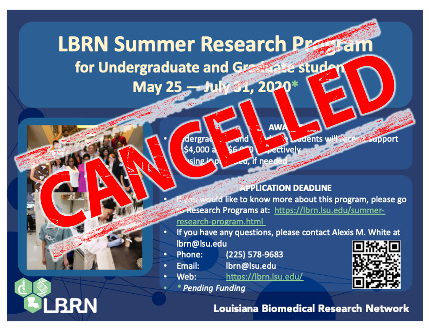 LBRN Summer Research Program 2020 Cancelled