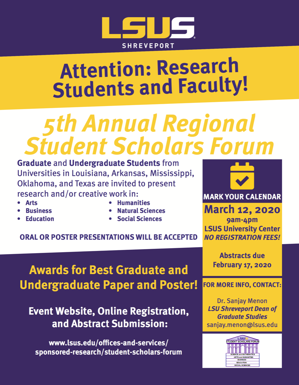 5th Annual Regional Student Scholars Forum at LSU Shreveport