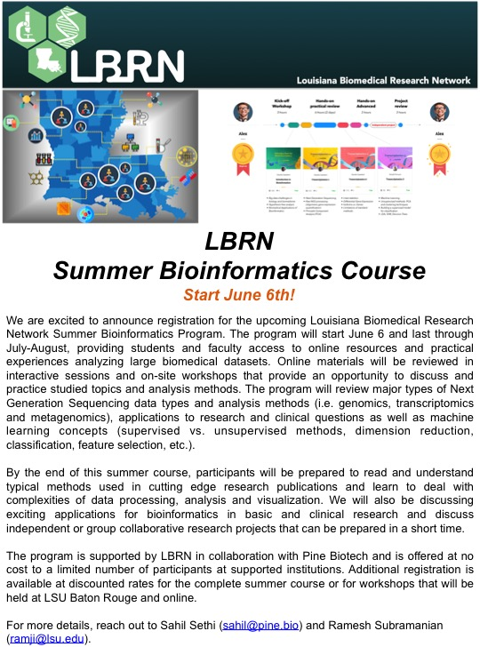 LBRN Summer Bioinformatics Course
